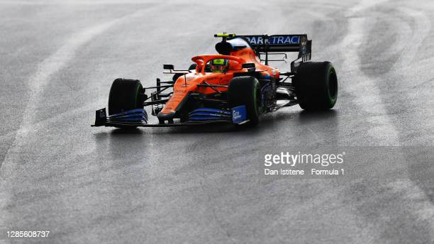 Lando Norris of Great Britain driving the McLaren F1 Team MCL35 Renault on track during final practice ahead of the F1 Grand Prix of Turkey at...