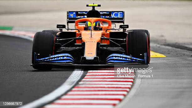 Lando Norris of Great Britain driving the McLaren F1 Team MCL35 Renault during practice for the F1 Grand Prix of Hungary at Hungaroring on July 17,...