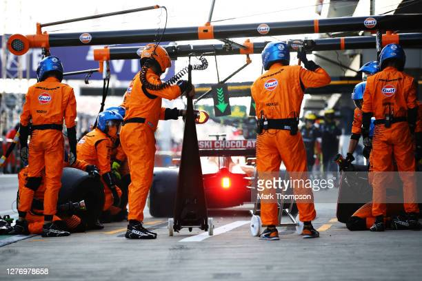 Lando Norris of Great Britain driving the McLaren F1 Team MCL35 Renault drives away after stopping in the Pitlane during the F1 Grand Prix of Russia...
