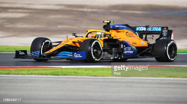 Lando Norris of Great Britain driving the McLaren F1 Team MCL35 Renault during practice ahead of the F1 Grand Prix of Turkey at Intercity Istanbul...