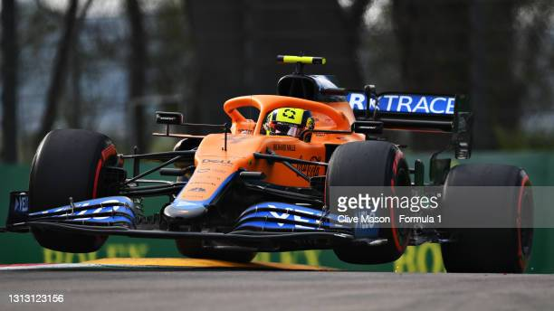 Lando Norris of Great Britain driving the McLaren F1 Team MCL35M Mercedes launches off a raised kerb during the F1 Grand Prix of Emilia Romagna at...