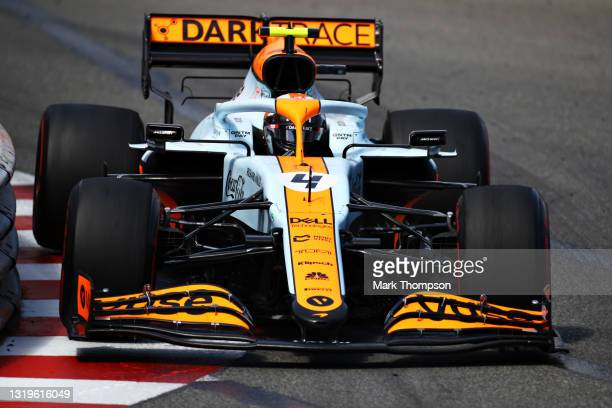 Lando Norris of Great Britain driving the McLaren F1 Team MCL35M Mercedes during the F1 Grand Prix of Monaco at Circuit de Monaco on May 23, 2021 in...