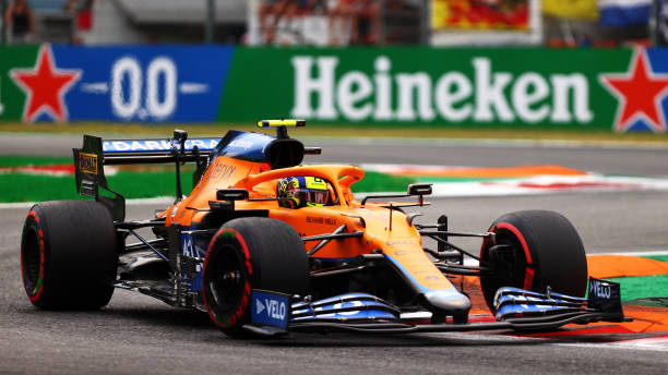 Lando Norris of Great Britain driving the McLaren F1 Team MCL35M Mercedes during qualifying ahead of the F1 Grand Prix of Italy at Autodromo di Monza...