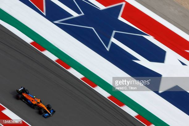 Lando Norris of Great Britain driving the McLaren F1 Team MCL35M Mercedes during final practice ahead of the F1 Grand Prix of USA at Circuit of The...