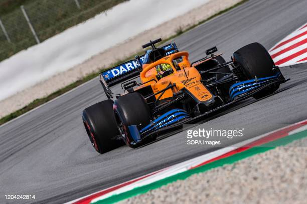 Lando Norris participates in the tests for the new season of the Formula One Grand Prix at the Circuit de Catalunya in Montmelo