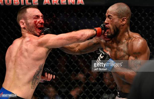Lando Vannata and Bobby Green trade punches in their lightweight bout during the UFC 216 event inside TMobile Arena on October 7 2017 in Las Vegas...