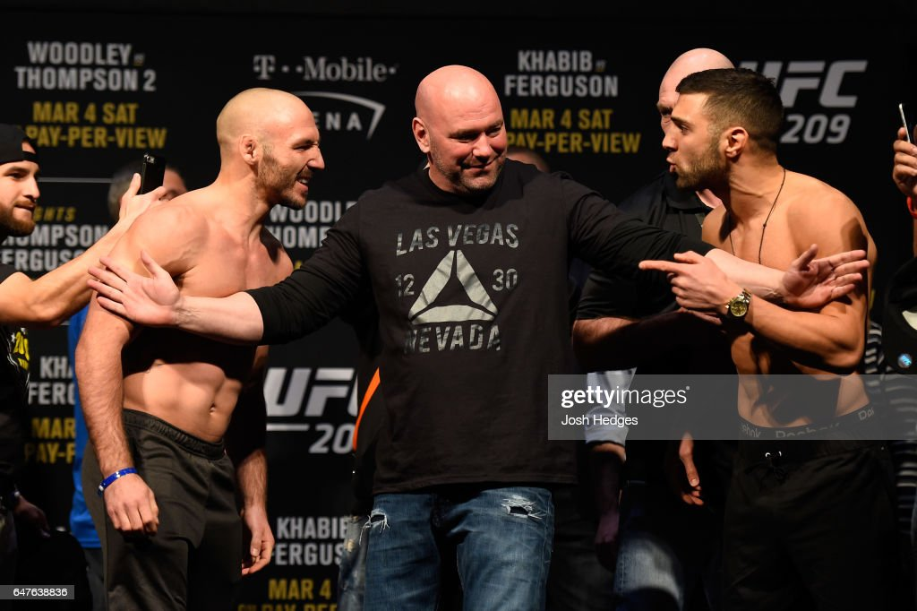 Lando Vannata and David Teymur of Sweden face off during the UFC 209 weigh-in at T-Mobile arena on March 3, 2017 in Las Vegas, Nevada.