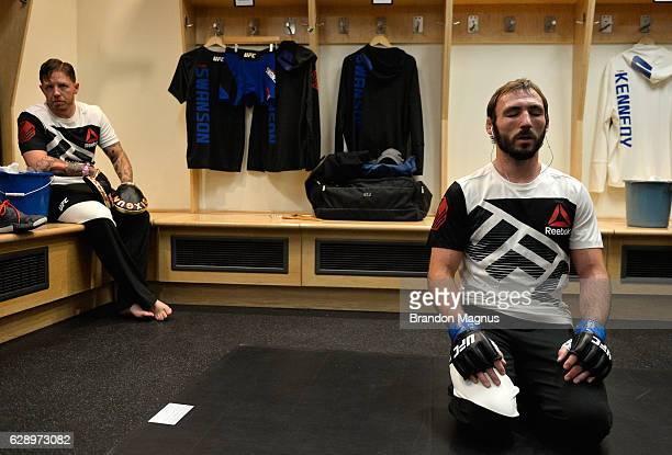 Lando Vannata warms up backstage during the UFC 206 event inside the Air Canada Centre on December 10, 2016 in Toronto, Ontario, Canada.