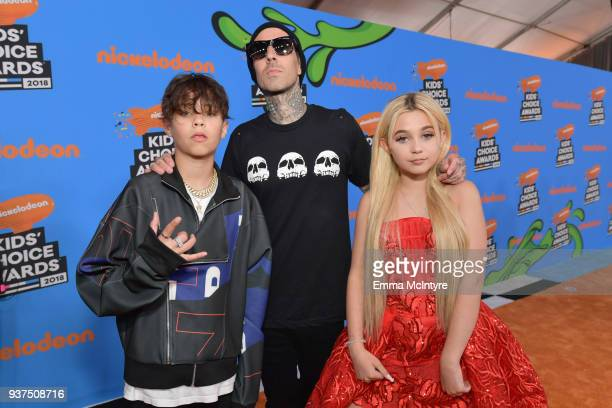 Landon Asher Barker recording artist Travis Barker and Alabama Luella Barker attend Nickelodeon's 2018 Kids' Choice Awards at The Forum on March 24...