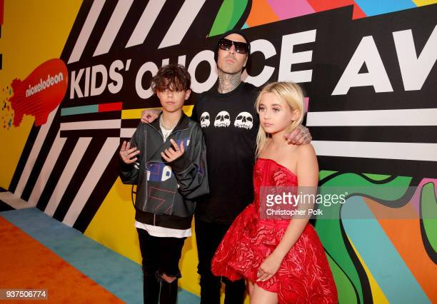 Landon Asher Barker Travis Barker and Alabama Luella Barker attend Nickelodeon's 2018 Kids' Choice Awards at The Forum on March 24 2018 in Inglewood...