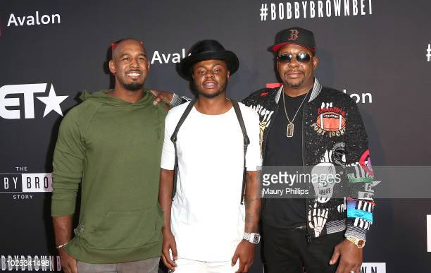 "Landon Brown, Bobby Brown Jr., and Bobby Brown arrive at the premiere screening of ""The Bobby Brown Story"" presented by BET and Toyota at Paramount..."