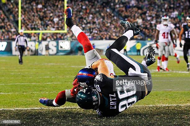Landon Collins of the New York Giants intercepts the ball away from Zach Ertz of the Philadelphia Eagles during the third quarter at Lincoln...