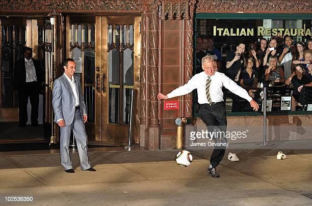 Landon Donovan and David Letterman film outside Ed Sullivan Theater for Late Show With David Letterman on June 29 2010 in New York City