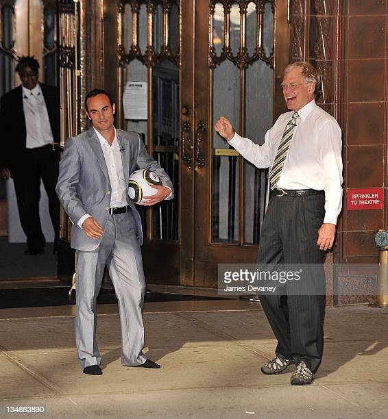 Landon Donovan and David Letterman film outside Ed Sullivan Theater for 'Late Show With David Letterman' on June 29 2010 in New York City
