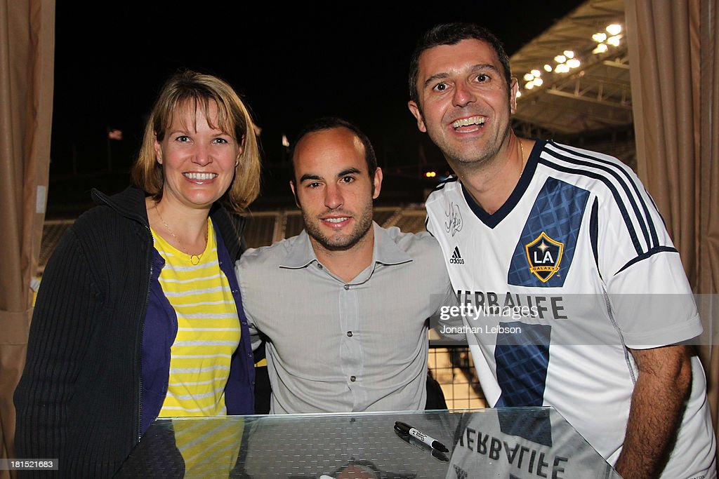 Landon Donovan and guests attend the American Express VIP Game Experience With Landon Donovan at StubHub Center on September 21, 2013 in Los Angeles, California.