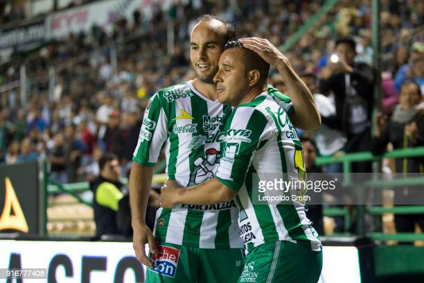 Landon Donovan and Luis Montes of Leon celebrate after winning the 6th round match between Leon and Puebla as part of the Torneo Clausura 2018 Liga...