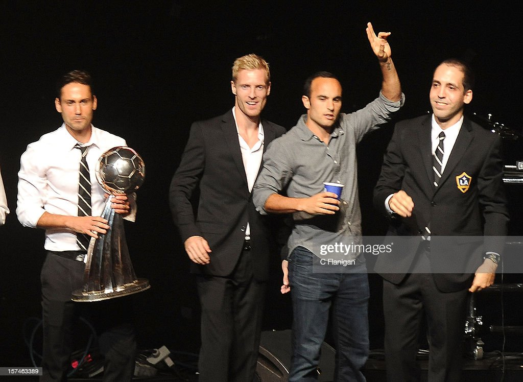 Landon Donovan and the 2012 MLS Cup Winning LA Galaxy take the stage during night 1 of the 2012 KIIS FM Jingle Ball at Nokia Theatre LA Live on December 1, 2012 in Los Angeles, California.