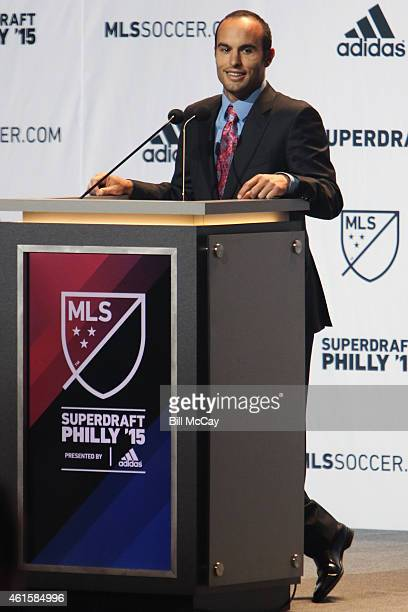Landon Donovan attends the 2015 MLS SuperDraft at the Pennsylvania Covention Center January 15 2015 in Philadelphia Pennsylvania