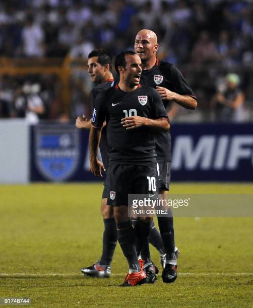Landon Donovan celebrates after he scored his team's third goal against Honduras during a FIFA World Cup South Africa 2010 Concacaf qualifier...