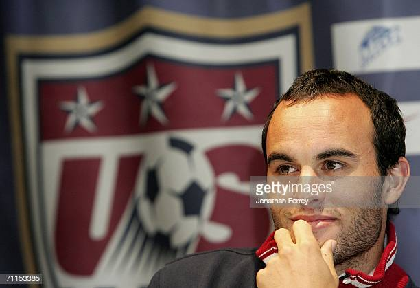 Landon Donovan listens to a question during a press conference for the United States National Team at on June 8th 2006 at the Grand Hyatt Hotel in...