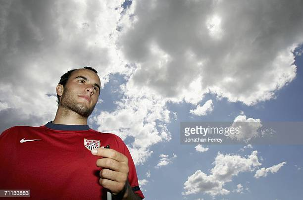 Landon Donovan looks on during a training session for the United States National Team on June 6 2006 at Edmund Plambeck Stadium in Norderstedt Germany