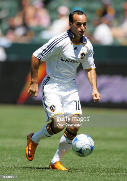 Landon Donovan o the Los Angeles Galaxy paces the ball on the attack in the second half against Toronto FC during their MLS game at the Home Depot...