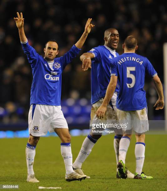 Landon Donovan of Everton celebrates with his team mates at the end of the Barclays Premier League match between Everton and Chelsea at Goodison Park...