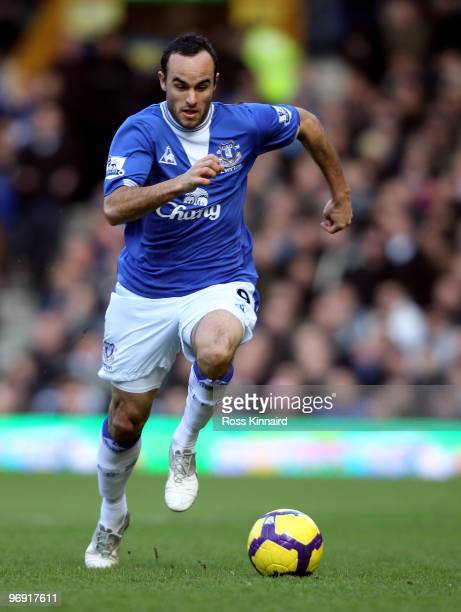 Landon Donovan of Everton during the Barclays Premiership match between Everton and Manchester United at Goodison Park on February 20 2010 in...