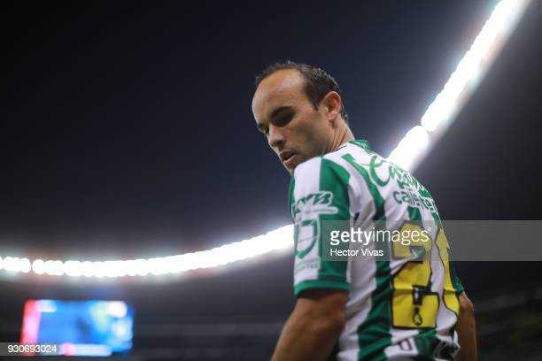 Landon Donovan of Leon gestures during the 11th round match between America and Leon as part of the Torneo Clausura 2018 Liga MX at Azteca Stadium on...