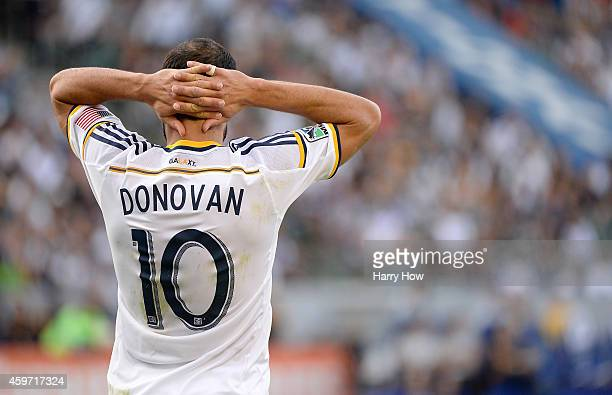 Landon Donovan of Los Angeles Galaxy reacts after a missed opportunity against the Seattle Sounders FC during the Western Conference Final at StubHub...