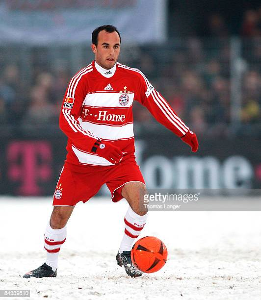 Landon Donovan of Munich runs with the ball during the friendly match between FC Eintracht Bamberg and FC Bayern Muenchen on January 17 2009 at the...