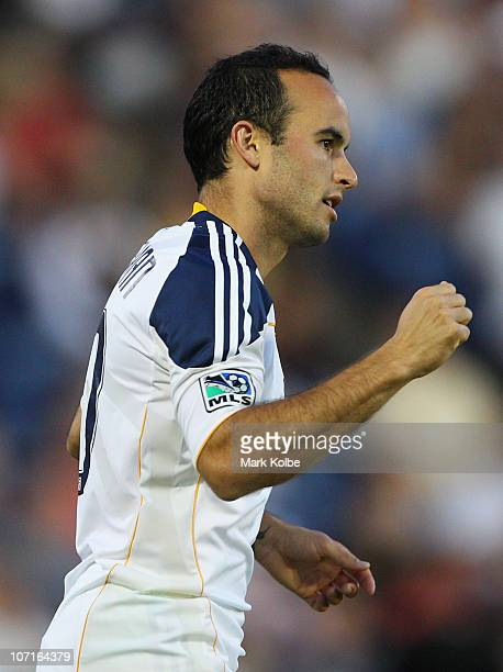 Landon Donovan of the Galaxy celebrates after he scored a goal during the friendly match between the Newcastle Jets and the LA Galaxy at...