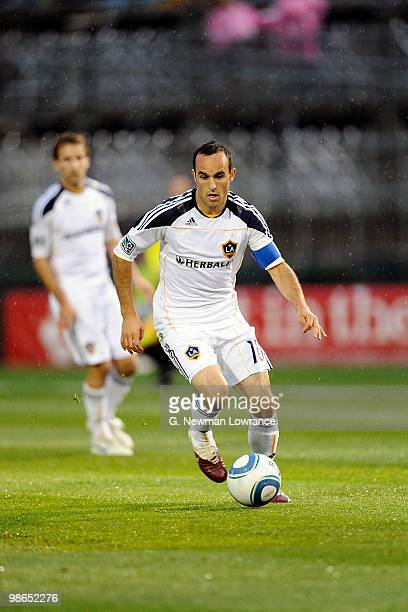 Landon Donovan of the Los Angeles Galaxy advances the ball during an MLS match against the Kansas City Wizards on April 24 2010 at Community America...