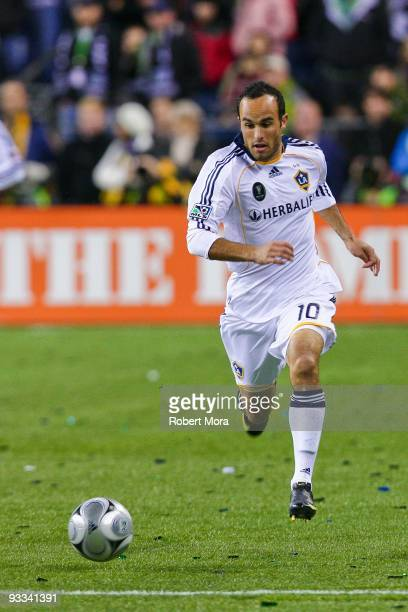 Landon Donovan of the Los Angeles Galaxy attacks the defense of Real Salt Lake during their MLS Cup game at Qwest Field on November 22 2009 in...