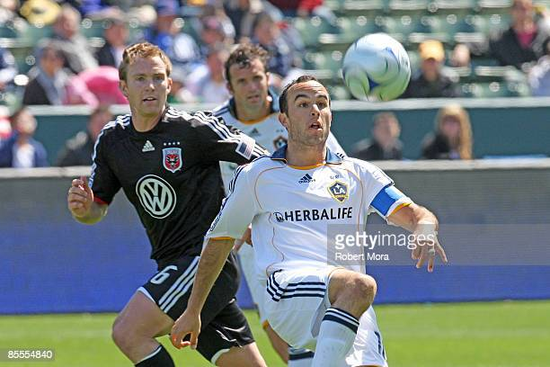 Landon Donovan of the Los Angeles Galaxy attempts to control the ball against DC United during their MLS game at Home Depot Center on March 22 2009...
