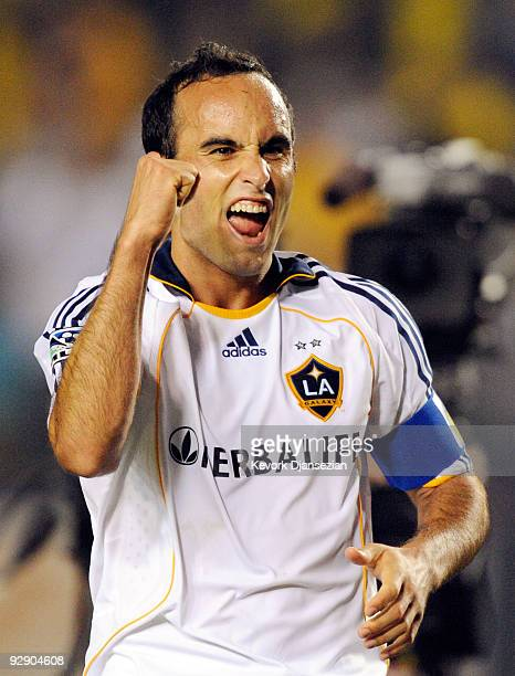 Landon Donovan of the Los Angeles Galaxy celebrates after defeating Chivas USA during Game 2 of the MLS Western Conference Semifinals match at The...