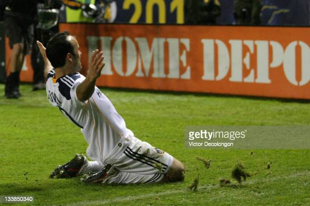 Landon Donovan of the Los Angeles Galaxy celebrates after scoring against the Houston Dynamo in the second half to take a 10 lead in the 2011 MLS Cup...