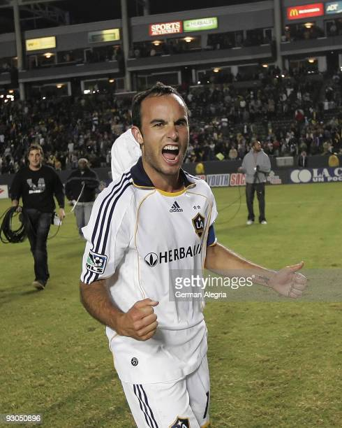 Landon Donovan of the Los Angeles Galaxy celebrates the victory over the Houston Dynamo at the final whistle of the 2009 MLS Western Conference...