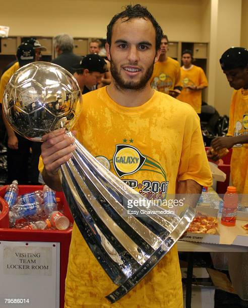 Landon Donovan of the Los Angeles Galaxy Celebrates with MLS Championship Cup after todays championship match at Pizza Hut Stadim in Frisco Texas...