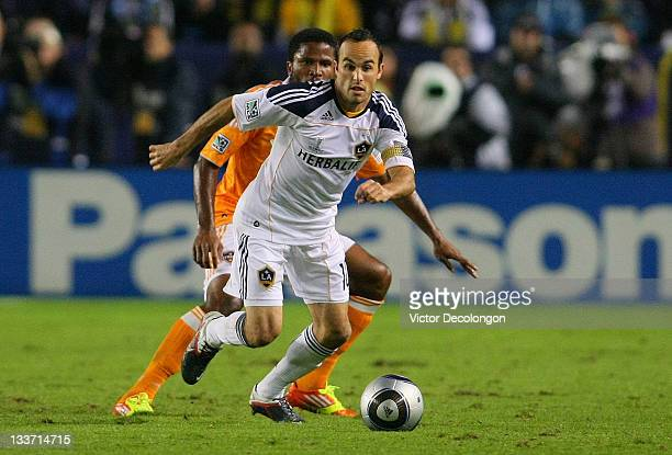 Landon Donovan of the Los Angeles Galaxy controls the ball against the Houston Dynamo during the 2011 MLS Cup at The Home Depot Center on November 20...
