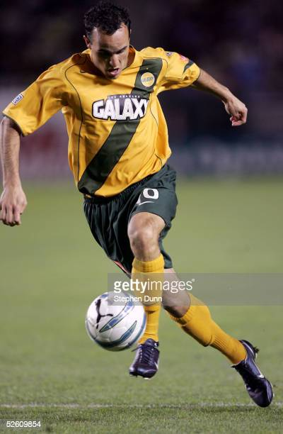 Landon Donovan of the Los Angeles Galaxy controls the ball against Real Salt Lake in their Major League Soccer match on April 9 2005 at the Home...