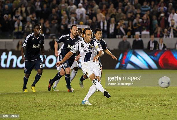 Landon Donovan of the Los Angeles Galaxy converts the penalty kick for a goal in the second half against the Vancouver Whitecaps during the MLS...