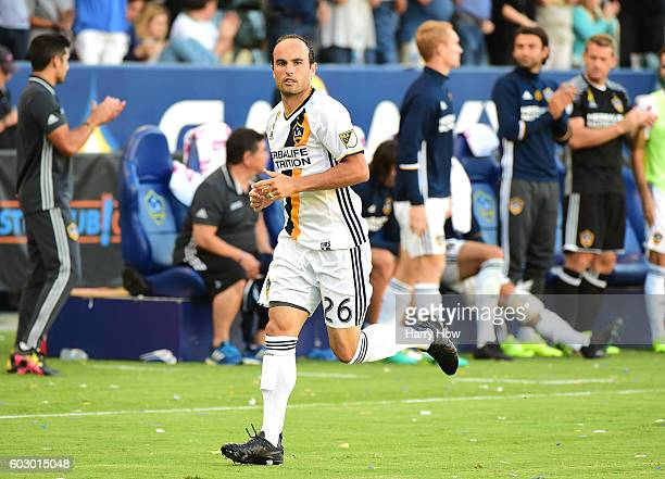 Landon Donovan of the Los Angeles Galaxy enters the game against Orlando City FC returning from retirement at StubHub Center on September 11 2016 in...
