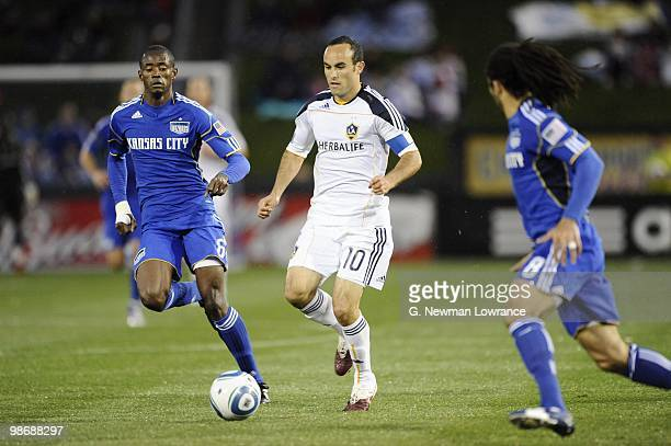 Landon Donovan of the Los Angeles Galaxy paces the ball against the Kansas City Wizards during their MLS match on April 24, 2010 at Community America...