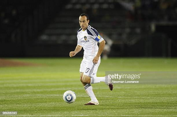 Landon Donovan of the Los Angeles Galaxy paces the ball during their MLS match against the Kansas City Wizards on April 24 2010 at Community America...