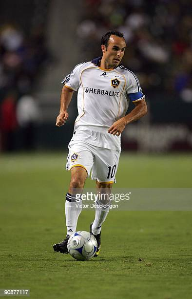 Landon Donovan of the Los Angeles Galaxy paces the ball on the attack against FC Dallas during the MLS match at The Home Depot Center on September 12...