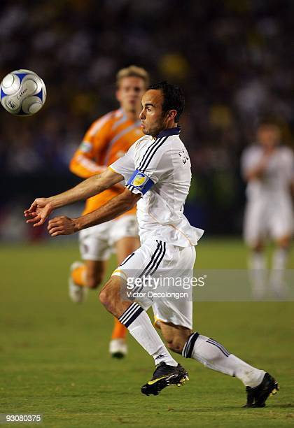 Landon Donovan of the Los Angeles Galaxy plays the ball off his chest during the MLS Western Conference Championship match against the Houston Dynamo...