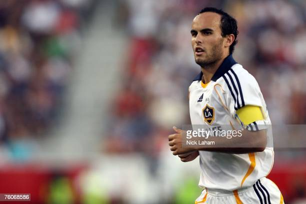 Landon Donovan of the Los Angeles Galaxy runs on the field while playing against the New England Revolution at Gillette Stadium on August 12 2007 in...