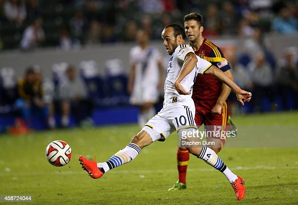 Landon Donovan of the Los Angeles Galaxy shoots to score his third goal of the match in the second half against Real Salt Lake in Leg 2 of the...