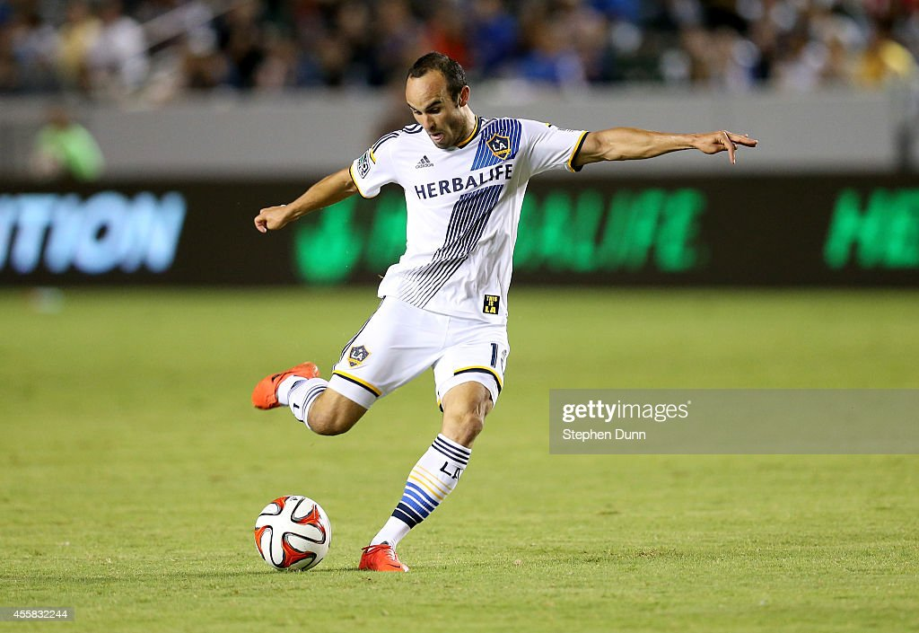Landon Donovan #10 of the Los Angeles Galaxy takes a shot at the FC Dallas goal at StubHub Center on September 20, 2014 in Los Angeles, California.